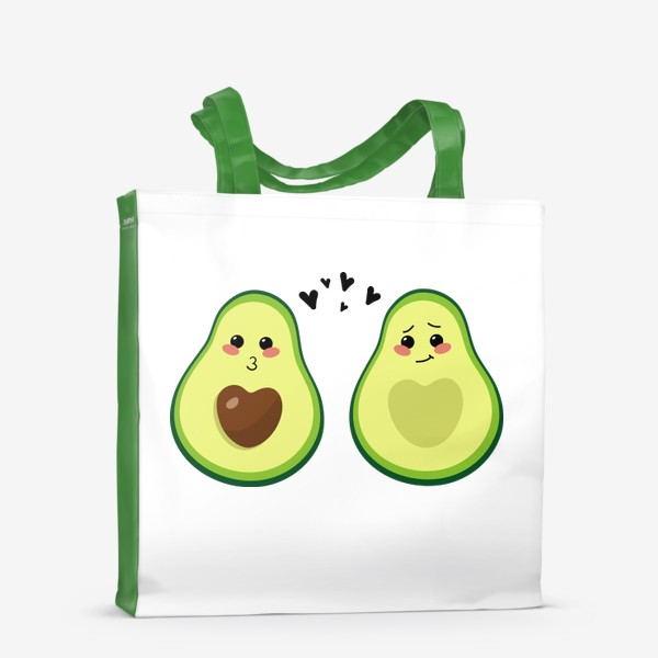 Сумка-шоппер «Милая пара, авокадо эмодзи (смайлики) и сердечки, поцелуй и смущение»