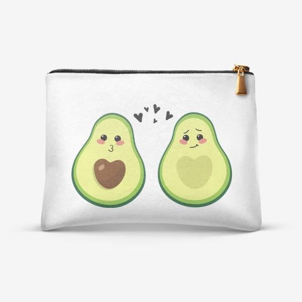 Косметичка «Милая пара, авокадо эмодзи (смайлики) и сердечки, поцелуй и смущение»
