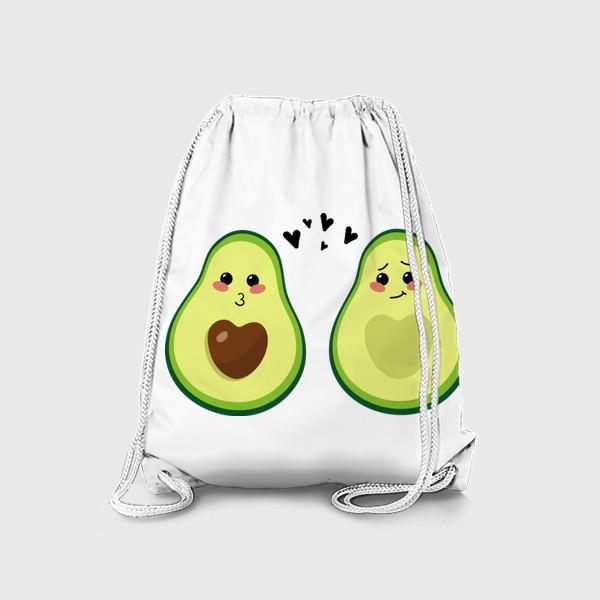 Рюкзак «Милая пара, авокадо эмодзи (смайлики) и сердечки, поцелуй и смущение»