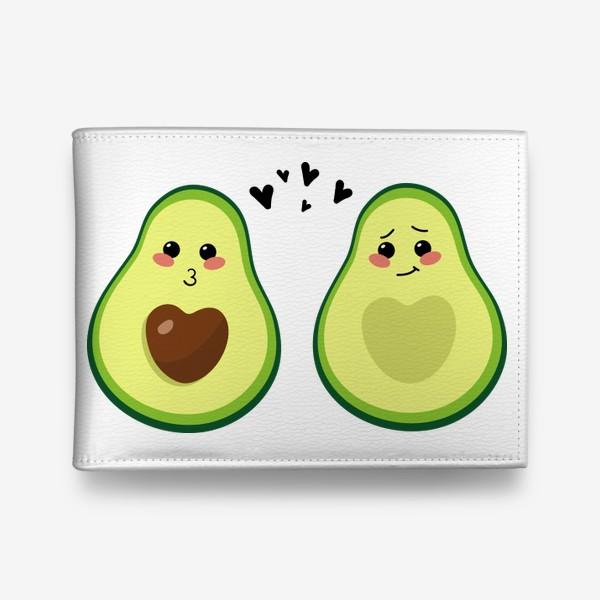 Кошелек «Милая пара, авокадо эмодзи (смайлики) и сердечки, поцелуй и смущение»