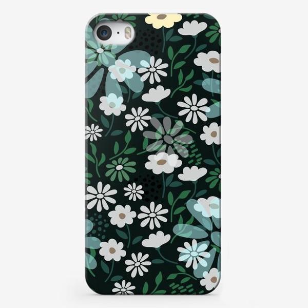 Чехол iPhone «Цветочный узор на темном»