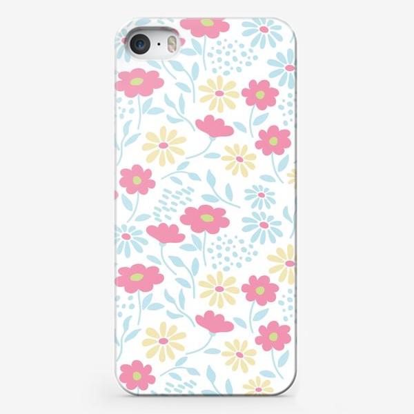 Чехол iPhone «Нежный узор с цветочками»