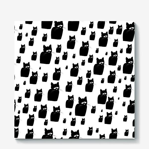 Холст «Принт из грустных черных котов Киану»