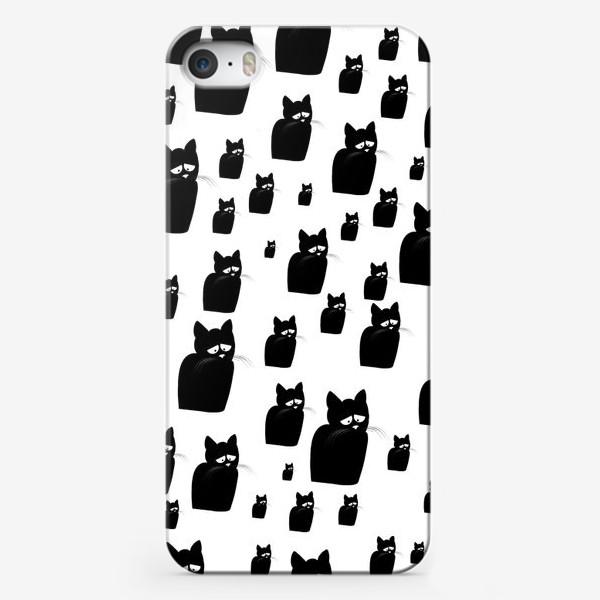 Чехол iPhone «Принт из грустных черных котов Киану»