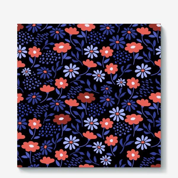 Холст «Яркие абстрактные цветочки на черном.»