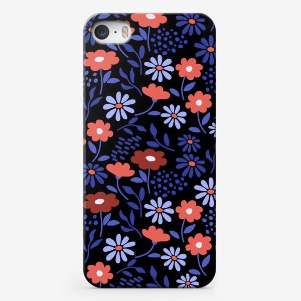 Чехол iPhone «Яркие абстрактные цветочки на черном.»