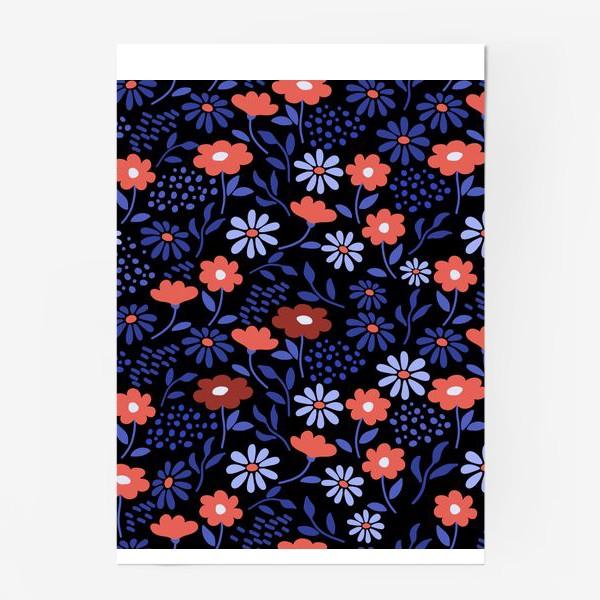 Постер «Яркие абстрактные цветочки на черном.»