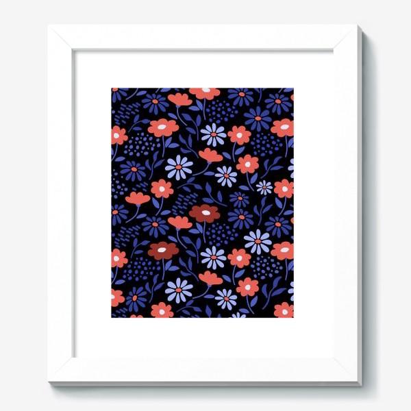 Картина «Яркие абстрактные цветочки на черном.»