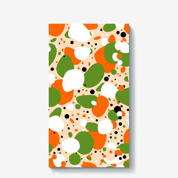 Холст «Веселый принт из оранжевых, зеленых и белых пятен»