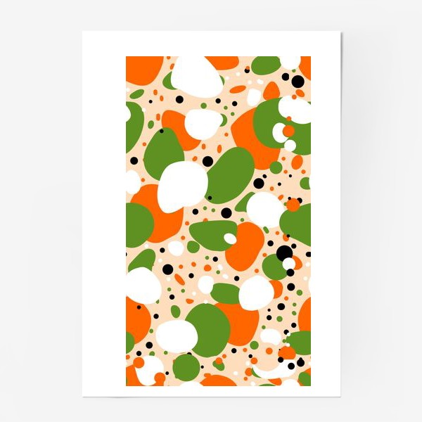 Постер «Веселый принт из оранжевых, зеленых и белых пятен»