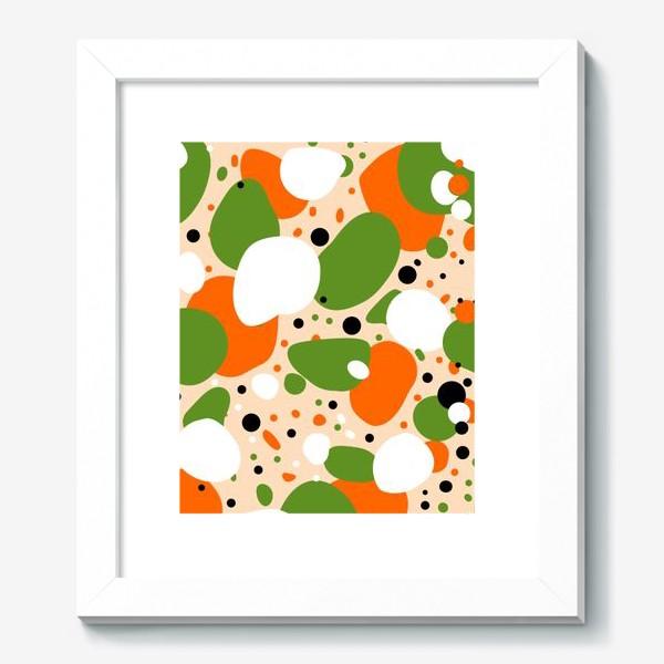 Картина «Веселый принт из оранжевых, зеленых и белых пятен»