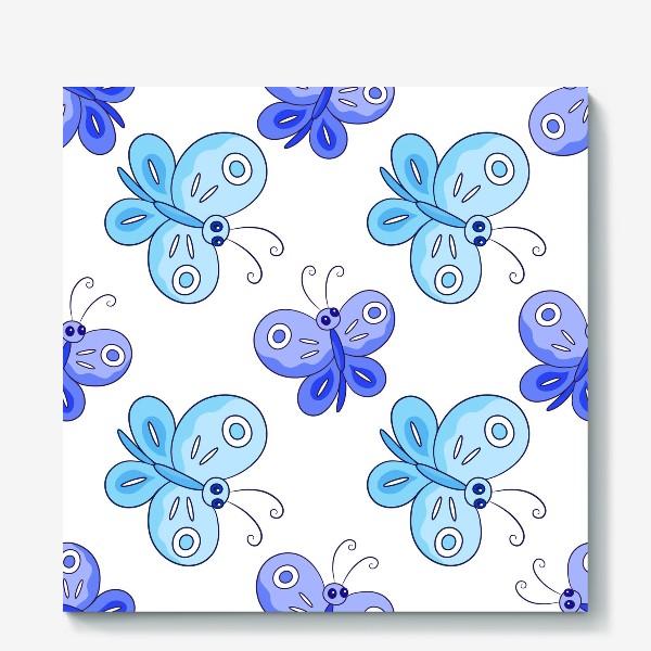 Холст «Голубые и фиолетовые бабочки»