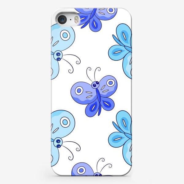 Чехол iPhone «Голубые и фиолетовые бабочки»