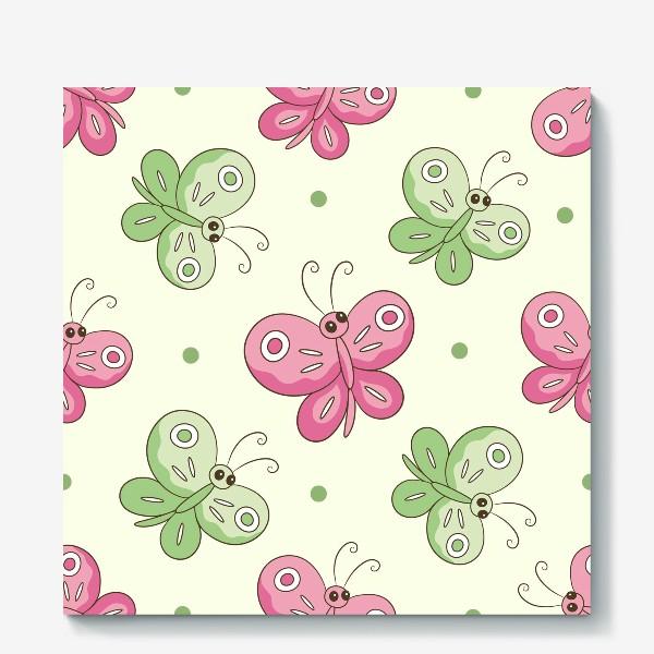 Холст «Розовые и зеленые бабочки»