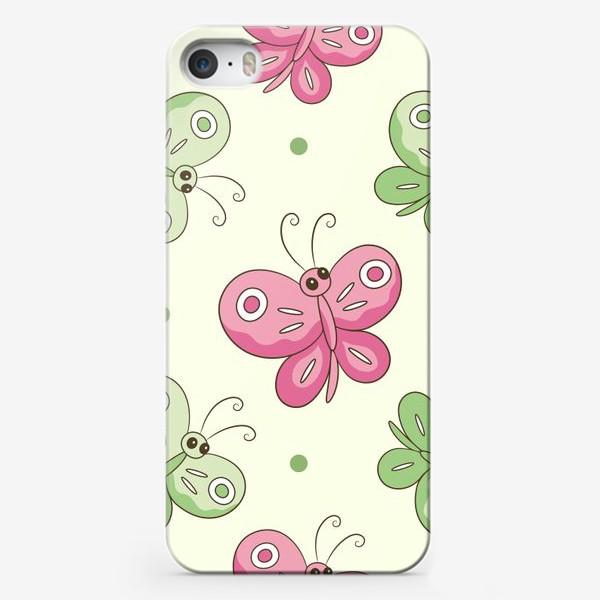 Чехол iPhone «Розовые и зеленые бабочки»