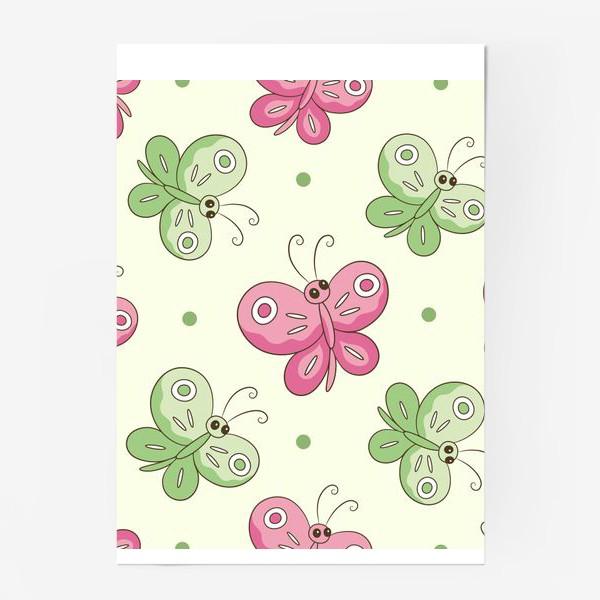 Постер «Розовые и зеленые бабочки»