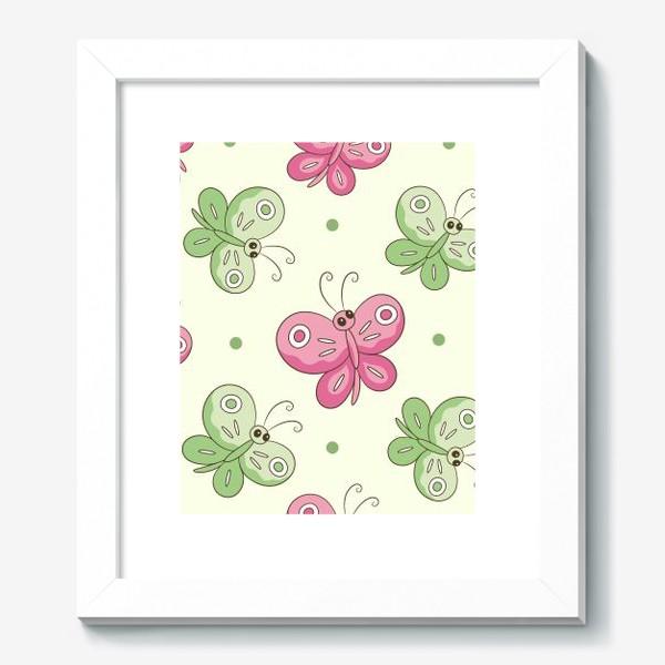 Картина «Розовые и зеленые бабочки»