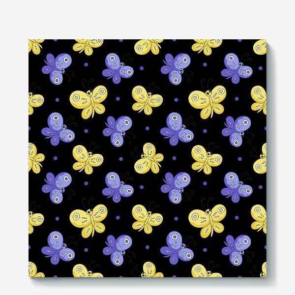 Холст «Желтые и фиолетовые бабочки на черном»
