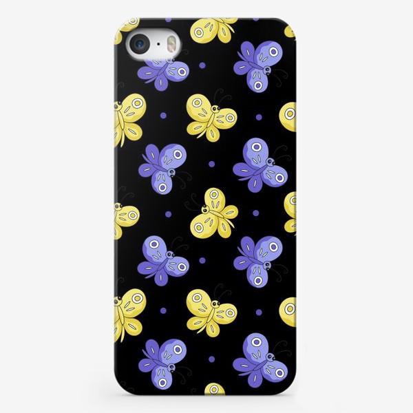 Чехол iPhone «Желтые и фиолетовые бабочки на черном»