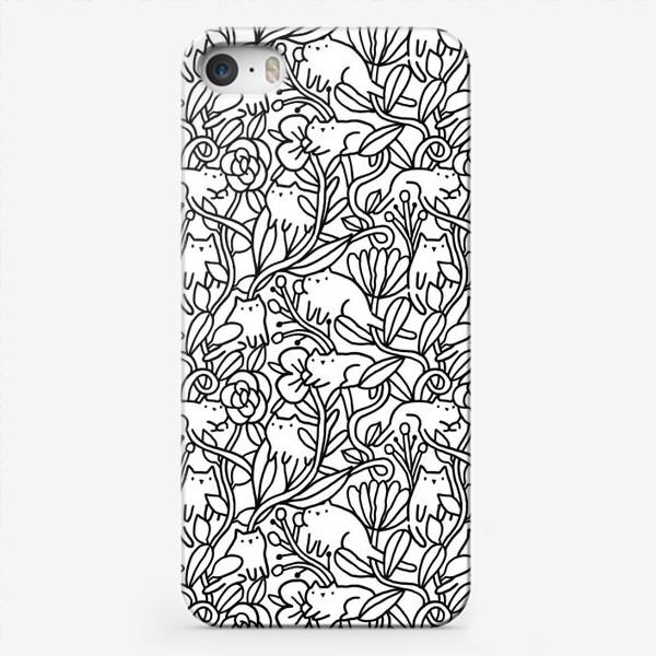 Чехол iPhone «Коты в цветах»
