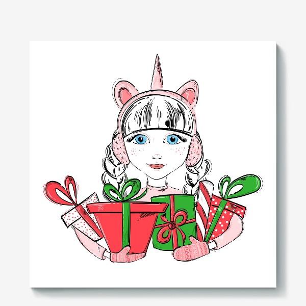 Холст «Иллюстрация девочки с подарками»