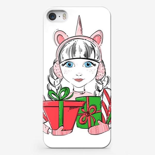 Чехол iPhone «Иллюстрация девочки с подарками»