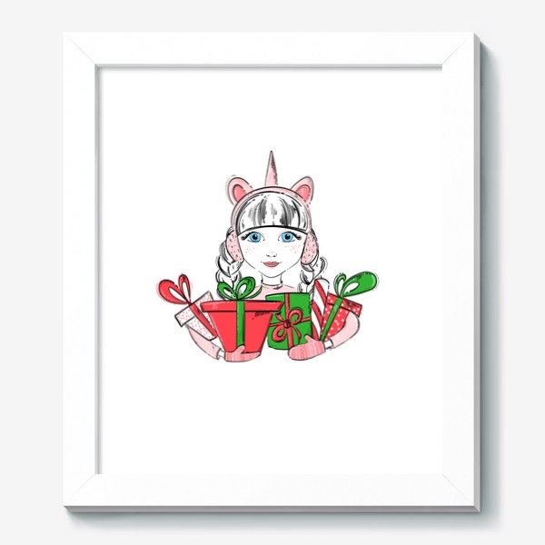 Картина «Иллюстрация девочки с подарками»