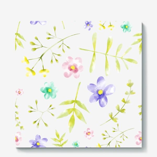 Холст «Нежный акварельные цветочки »