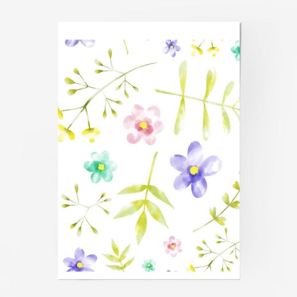 Постер «Нежный акварельные цветочки »