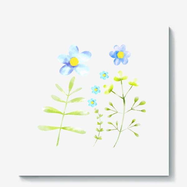 Холст «Голубые акварельные цветы»