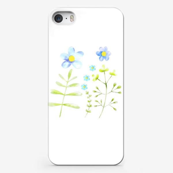 Чехол iPhone «Голубые акварельные цветы»
