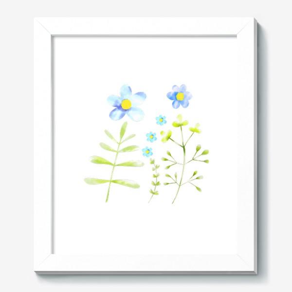 Картина «Голубые акварельные цветы»