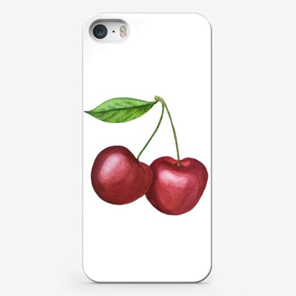 Чехол iPhone «Спелая черешня. Акварель»