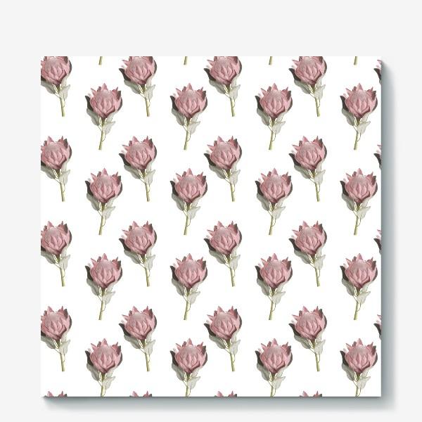 Холст «Паттерн с цветами протеи»