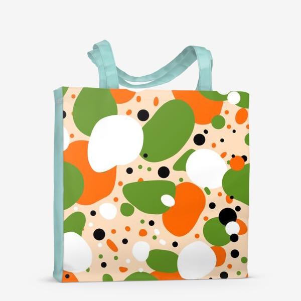 Сумка-шоппер «Веселый принт из оранжевых, зеленых и белых пятен»