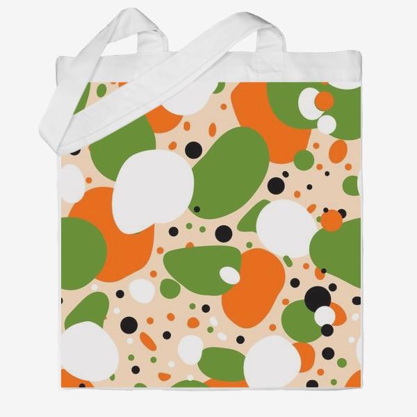 Сумка хб «Веселый принт из оранжевых, зеленых и белых пятен»