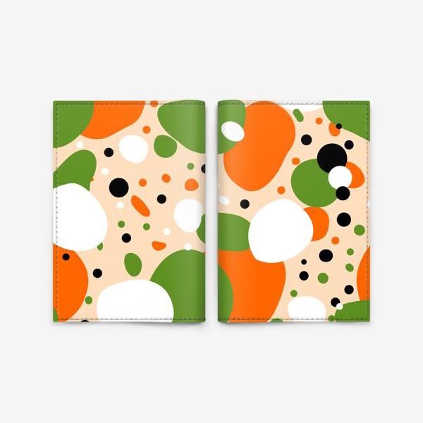 Обложка для паспорта «Веселый принт из оранжевых, зеленых и белых пятен»