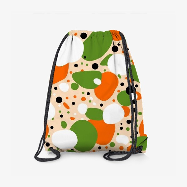 Рюкзак «Веселый принт из оранжевых, зеленых и белых пятен»