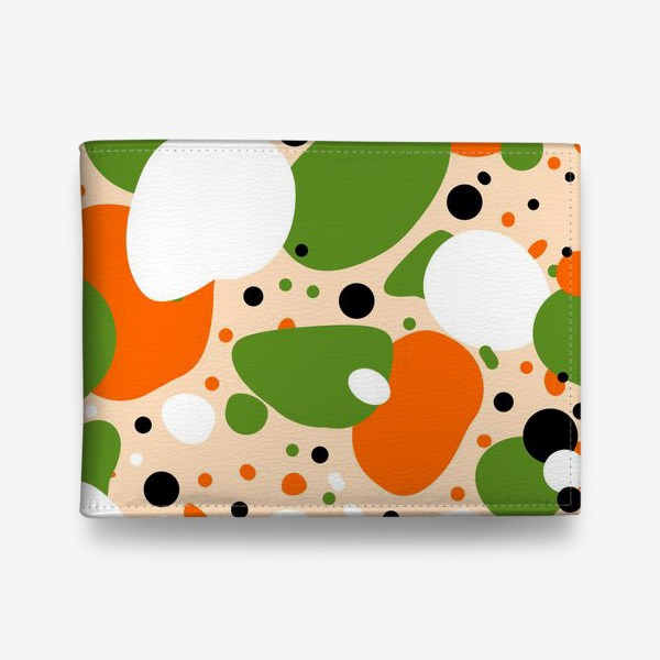 Кошелек «Веселый принт из оранжевых, зеленых и белых пятен»
