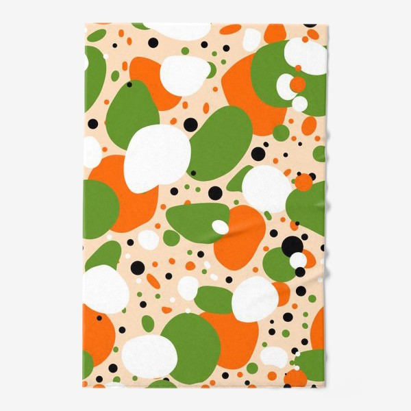 Полотенце «Веселый принт из оранжевых, зеленых и белых пятен»