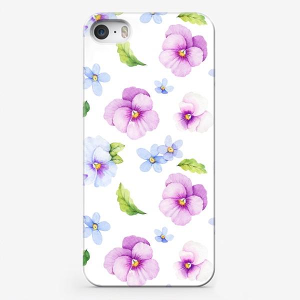 Чехол iPhone «Виола и незабудки на белом фоне»