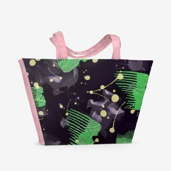 Пляжная сумка «Абстрактный принт зубцы и пятна»