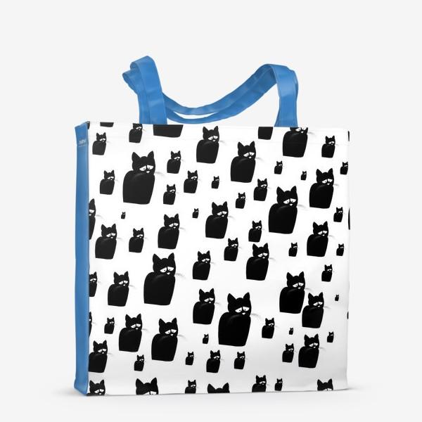 Сумка-шоппер «Принт из грустных черных котов Киану»