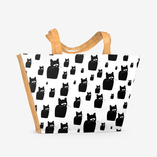 Пляжная сумка «Принт из грустных черных котов Киану»