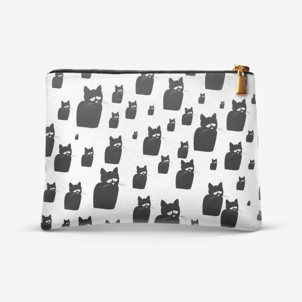 Косметичка «Принт из грустных черных котов Киану»