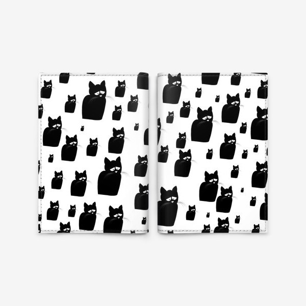 Обложка для паспорта «Принт из грустных черных котов Киану»