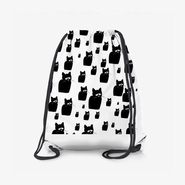 Рюкзак «Принт из грустных черных котов Киану»