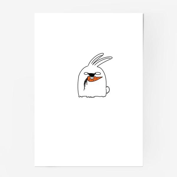 Постер «Кролик грызет морковь »
