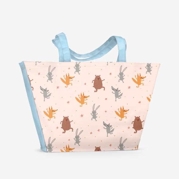 Пляжная сумка «Нежный паттерн с танцующими зверятами и звездами»