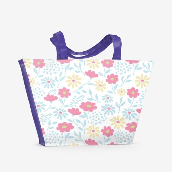 Пляжная сумка «Нежный узор с цветочками»